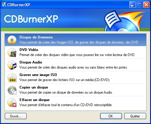 Interface de CDBurnerXP
