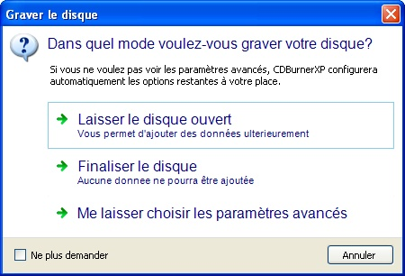 CDBurnerXP : Options de gravure