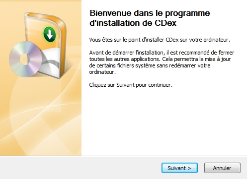 CDex - D�marrage de l'installation