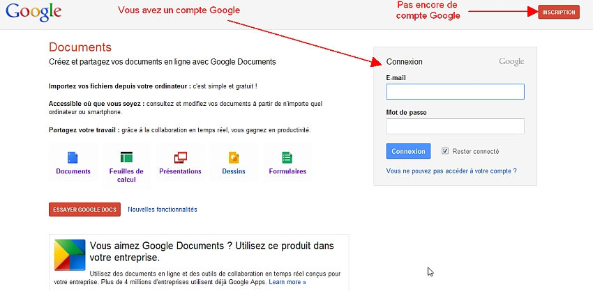 Connexion à Google Documents