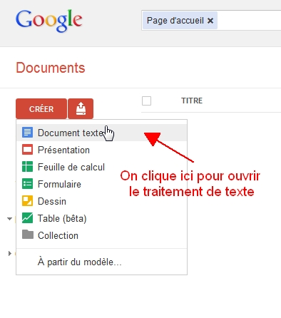 Accéder à l'interface du traitement de texte de Google Documents