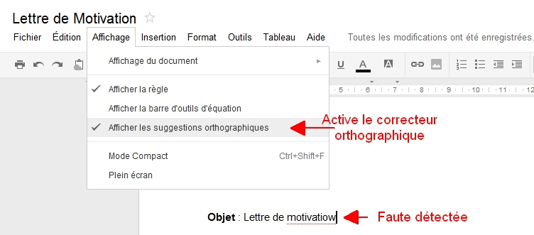Découverte du menu Affichage de Google Documents