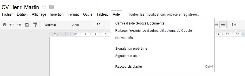 Découverte du menu Aide de Google Documents