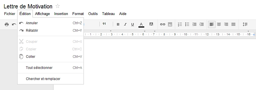 Découverte du menu Edition de Google Documents