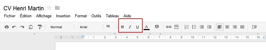 Découverte du menu Format de Google Documents