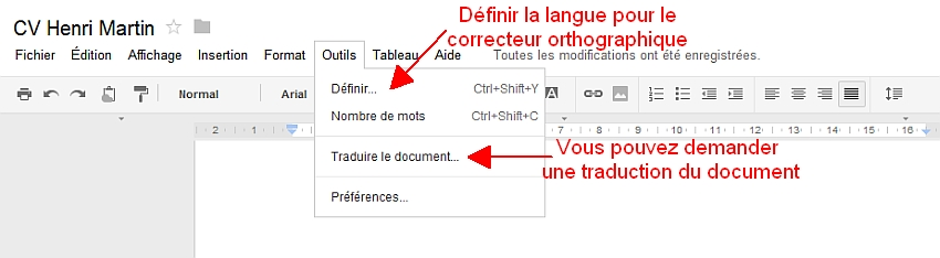 Découverte du menu Outils de Google Documents