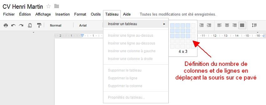 Découverte du menu Tableau de Google Documents