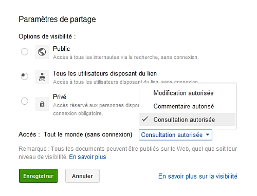 Consultation restreinte d'un document sous Google Documents
