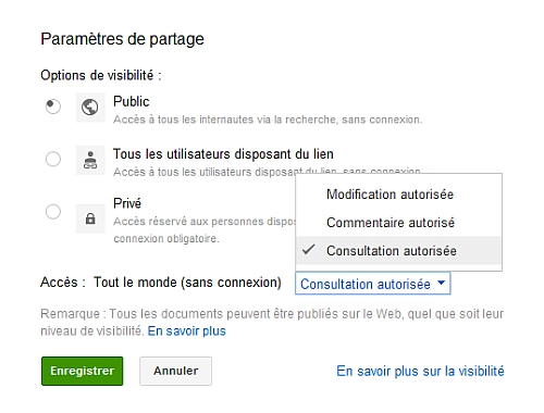 Rendre Public un document sous Google Documents