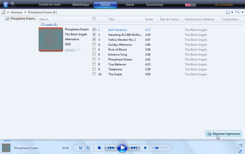 Windows Media Player - Lancer la copie